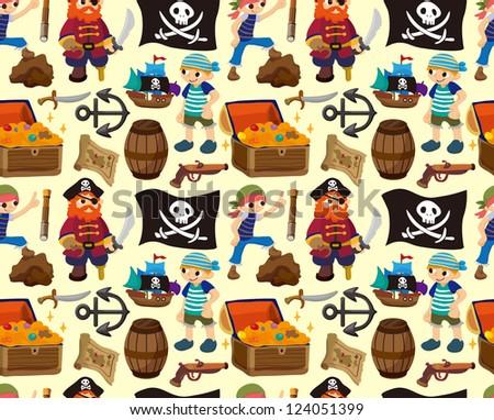 seamless pirate pattern,cartoon vector illustration - stock vector
