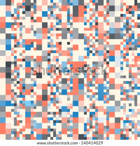 Seamless pixel pattern with different pixel size in pastel colors - stock vector