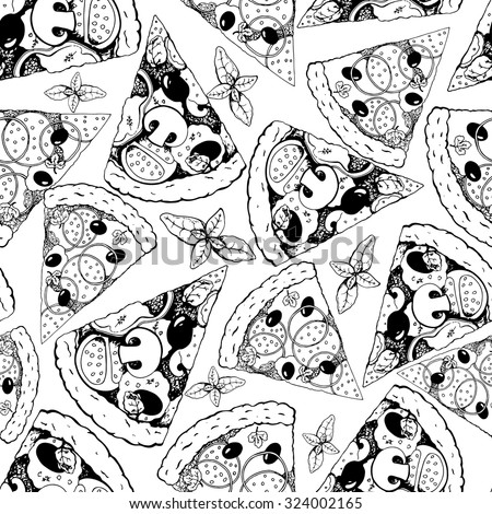 Seamless pizza pattern, hand drawn vector food illustration - stock vector
