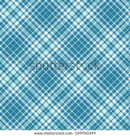 Seamless plaid pattern print. Checkered fabric texture in teal green, aquamarine green and white.