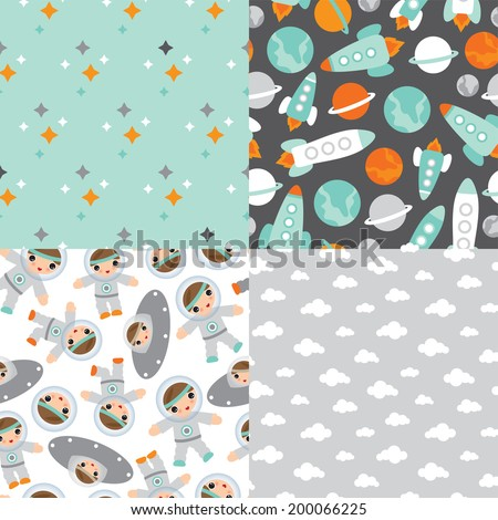 Seamless planet earth and space rocket illustration little astronaut background pattern in vector - stock vector