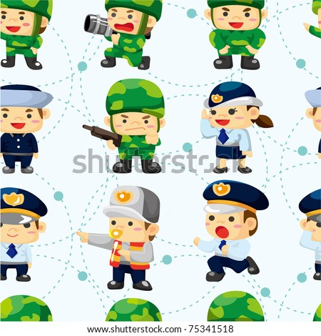 seamless police and soldier pattern - stock vector