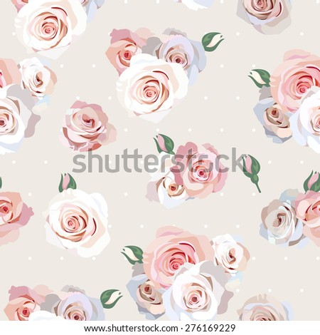 Seamless polka dot and roses background - stock vector