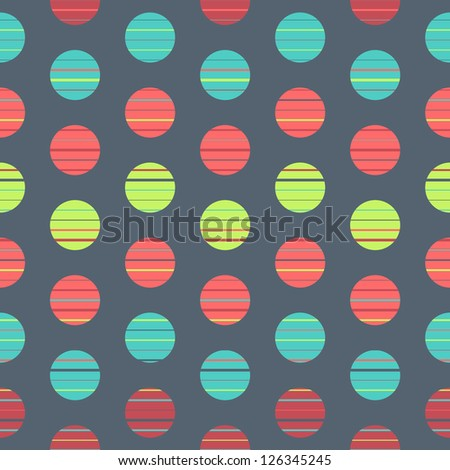 Seamless polka dot pattern background retro texture - stock vector