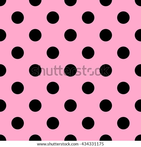 Seamless polka dot pattern. Black dots on pink background. Vector illustration.