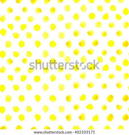 Seamless polka dot pattern from watercolor paint yellow circles. Vector illustration for your design.
