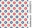 Seamless polka dot pattern with stars in american national flag colour gamut. Vector illustration, EPS 10. - stock vector