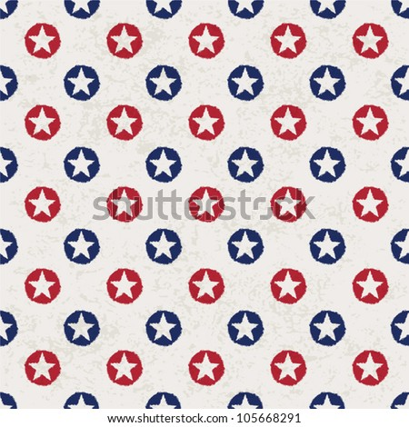 Seamless polka dot pattern with stars in american national flag colour gamut. Vector illustration, EPS 10. - stock vector