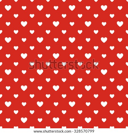Seamless polka dot red pattern with hearts - stock vector