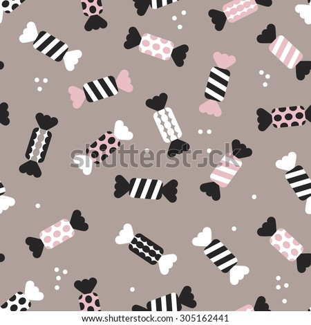 Seamless polka dots and chevron stripes birthday party festive candy vintage style illustration background pattern in vector - stock vector