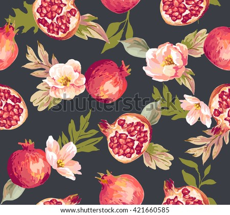 Seamless pomegranate with flower pattern background - stock vector