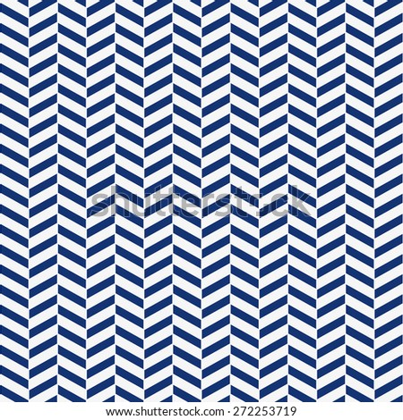 Seamless porcelain indigo blue and white herringbone pattern vector - stock vector