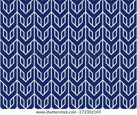 Seamless porcelain indigo blue and white overlocking tribal pattern vector - stock vector