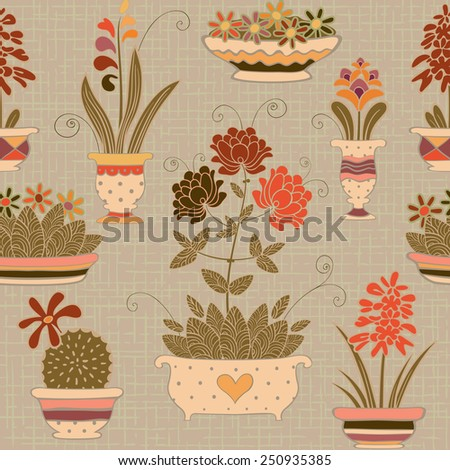 Seamless pot plants background. Flowers in a flowerpots pattern. Vector ornamental illustration. - stock vector