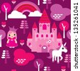 Seamless princess castle and unicorn rainbow illustration pattern background in vector - stock vector