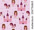 Seamless princess wallpaper - stock vector