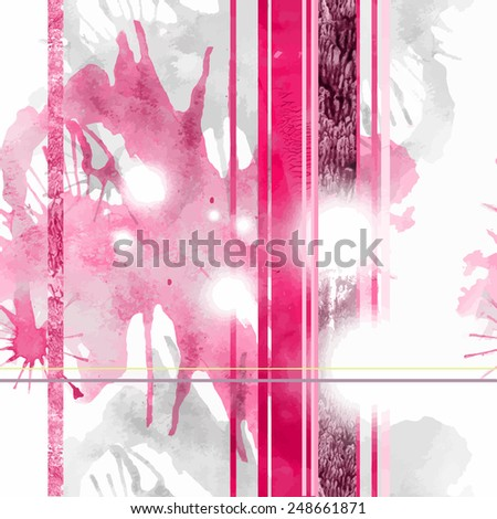 Seamless print for a textile with watercolor blots - stock vector