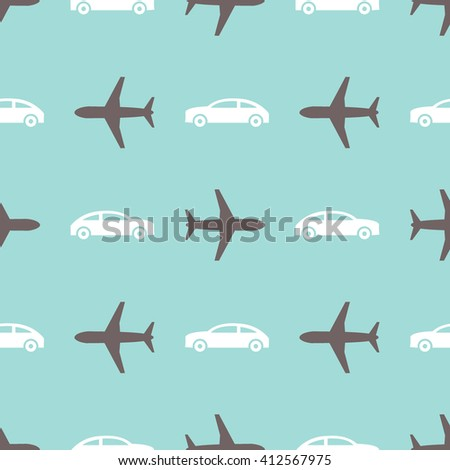 Seamless print with airplanes and cars on blue background - stock vector