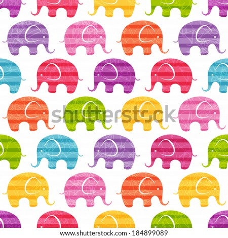 Seamless print with funny  little elephants. EPS 10 vector illustration. - stock vector