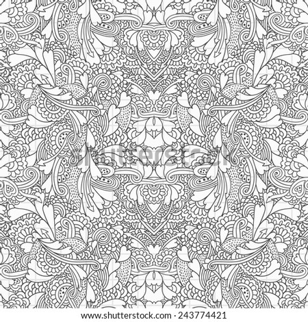seamless psychedelic doodle pattern - stock vector