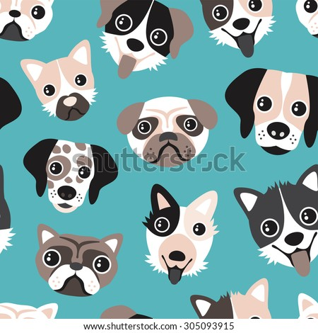 Seamless puppy love blue retro pets dalmatian pug bull dog and other breeds cute kids illustration background pattern in vector - stock vector