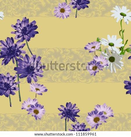 seamless purple daisy on old yellow pattern. vector - stock vector