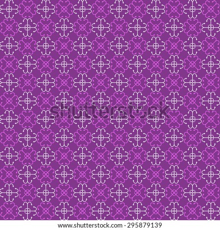 Seamless purple pattern with bright purple and white abstract elements (flowers, 4 anchors, ...)