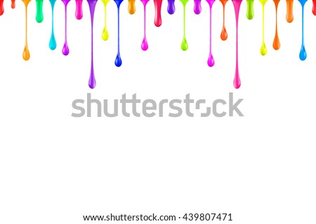 seamless rainbow colors oil paint glossy drops isolated on white. nail polish drop. nail polish drip. nail polish drop multicolor. paint drop. paint drip. paint multicolor. nail polish drop vector.  - stock vector