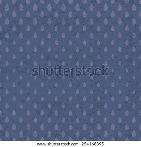 Seamless raindrops pattern on old grunge paper texture, dark blue purple - stock vector