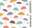 Seamless rainy pattern with color umbrellas. Vector illustration - stock vector
