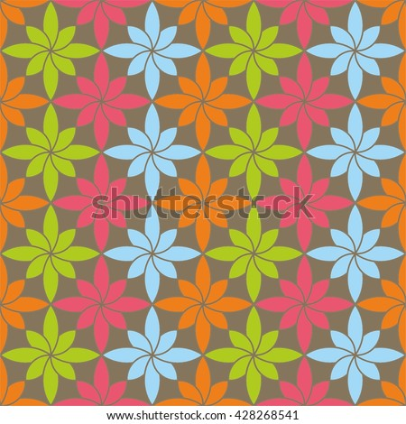Seamless raster geometric pattern with flowers. Background with decorative ornament . Series of Decorative and Ornamental Seamless Patterns. - stock vector