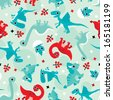 Seamless red and blue baby dinosaur animal illustration background pattern in vector  - stock photo