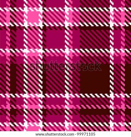 Seamless Red and Pink Checkered Vector Fabric Pattern - stock vector