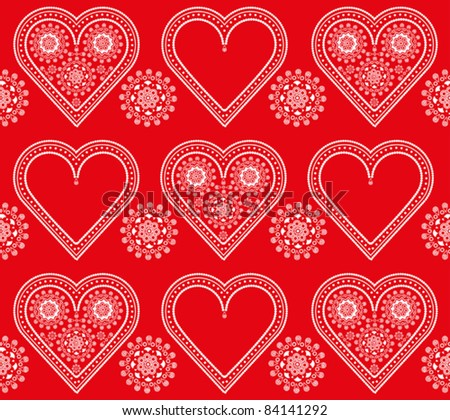 seamless red and white valentine ornament pattern with lacy hearts - stock vector
