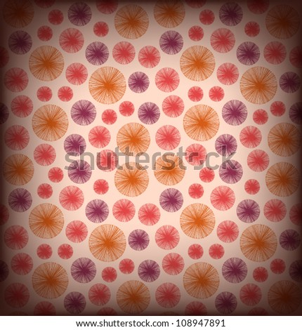 Seamless red background texture with many circles. Endless vintage pattern. Scrapbooking elements.