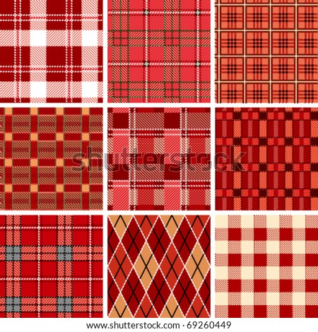 Seamless red check pattern - stock vector