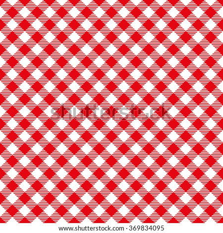 Seamless Red Checkered Plaid Fabric Pattern Texture - stock vector