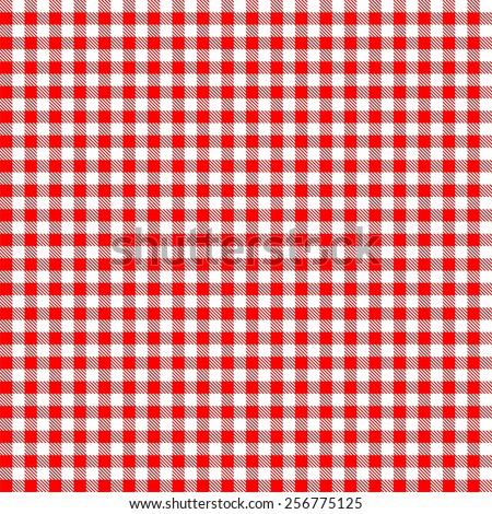 Seamless red checkered tablecloth pattern - stock vector