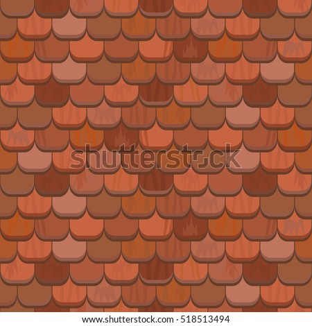 Seamless Red Clay Roof Tiles Terracotta Roof Stock Vector