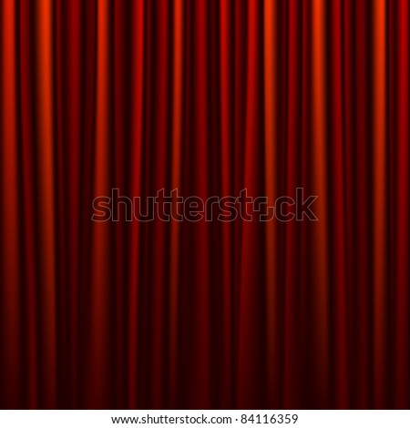 Seamless red curtain. Vector. - stock vector