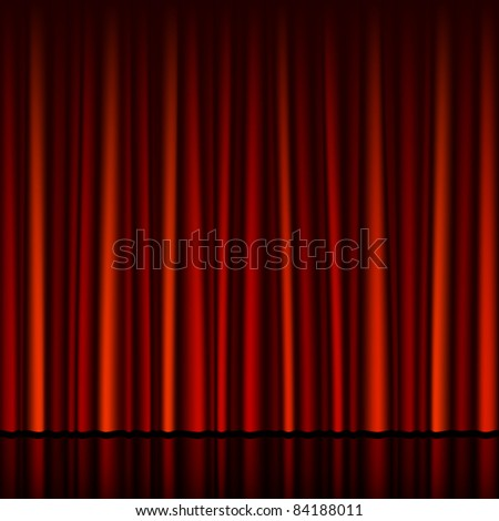 Seamless red curtain with stage. Vector. - stock vector