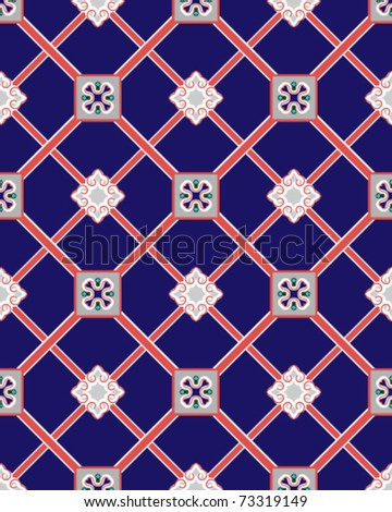 seamless red grid pattern on royal blue background, vector - stock vector