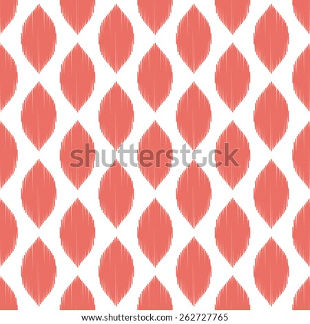 Seamless red ogee ikat pattern vector