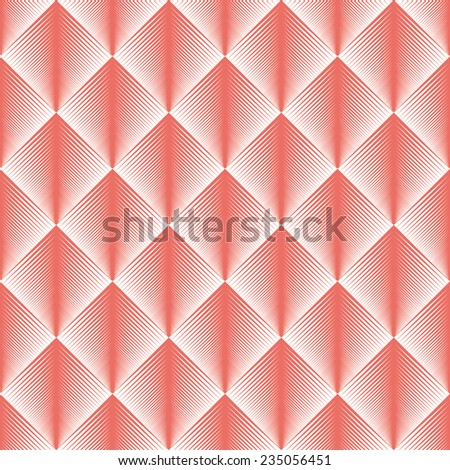 Seamless red optical illusion feather pattern vector - stock vector