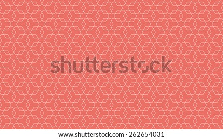 Seamless red overlapping hexagons pattern vector - stock vector