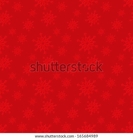 Seamless red pattern with snowflakes. - stock vector