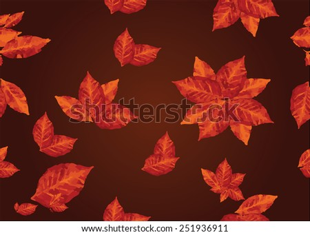 Seamless red stylized leaf pattern on brown background. EPS10 vector illustration. Colorful brown red autumn pattern. Leaf ornament. Nature objects.  - stock vector