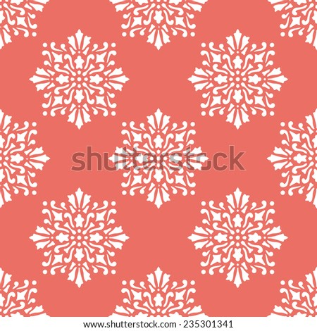 Seamless red victorian floral pattern vector - stock vector