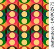 Seamless red yellow retro circle pattern background, vector illustration.  - stock