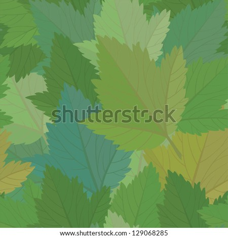 Seamless redcurrant leaves pattern - stock vector